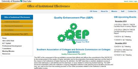 UHCL OIE QEP homepage