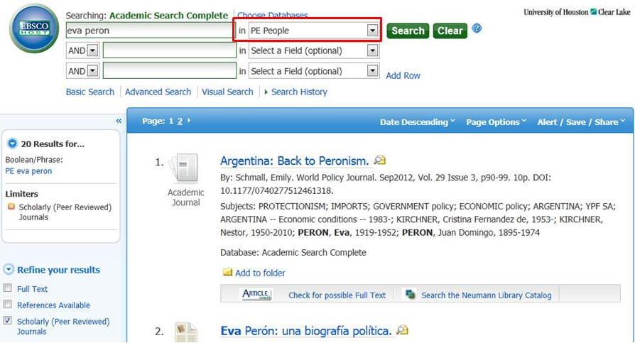 """Shows search for """"eva peron"""" using adjacent limiter for the """"people"""" field in Academic Search Complete"""
