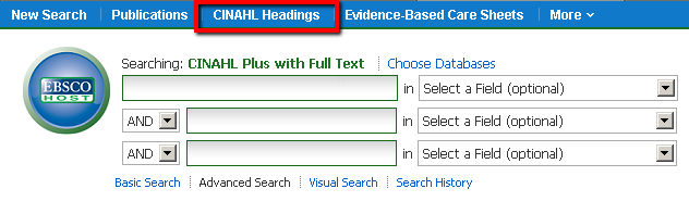 CINAHL Headings link