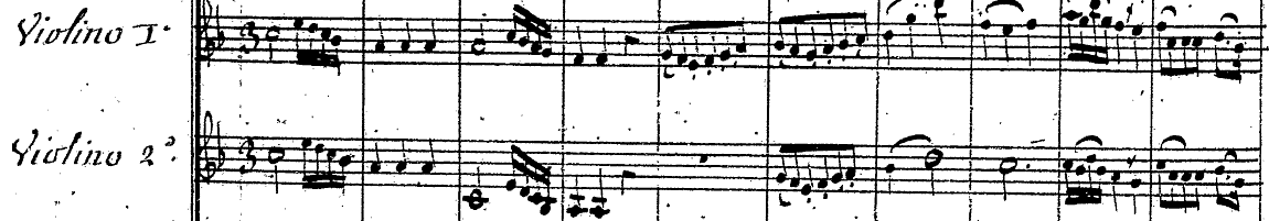 Sample of music score for Amant Anonime, (with link to larger version).