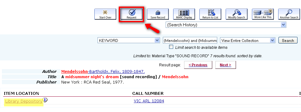 Library Depository Request button from bibliographic record