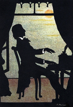 Illustration of man playing piano