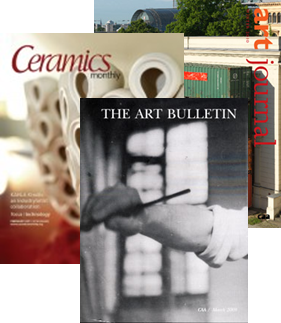 Collage of covers of academic art journals