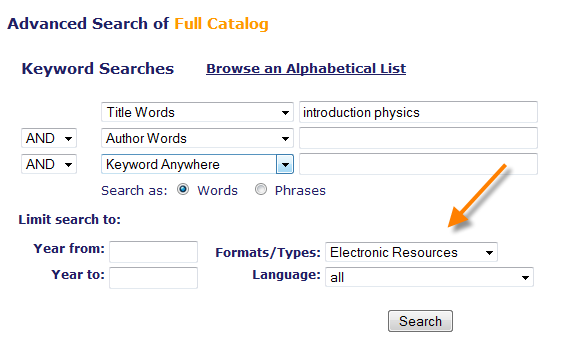 Barton advanced search screenshot