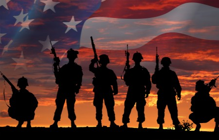 Military silhouette with flag