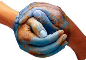 Central America portal logo of two hands covered in blue paint entwined