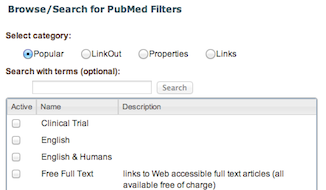 MyNCBI manage PubMed filter