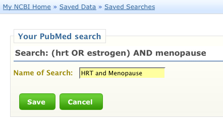 MyNCBI Naming a Saved Search