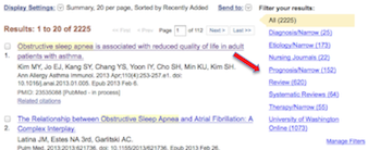 PubMed UW results page - search filters