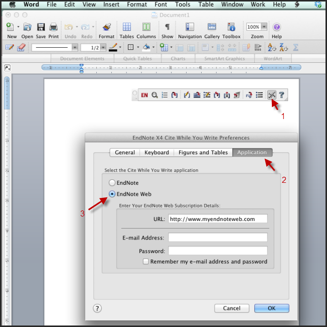 EndNote Web Application in Preferences