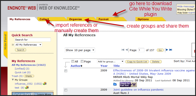 Endnote Web Interface