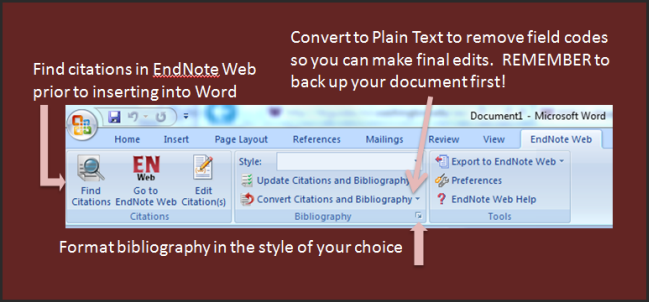 EndNote Web Toolbar in Word for Windows