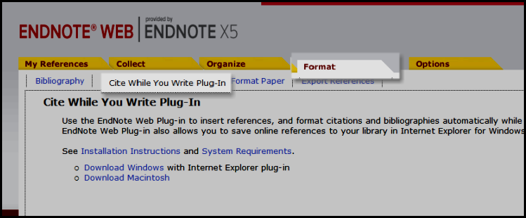 EndNote Web Cite While You Write Plug-in