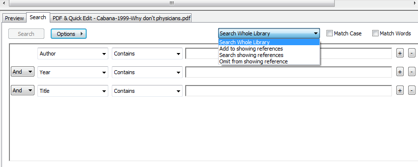 Search EndNote