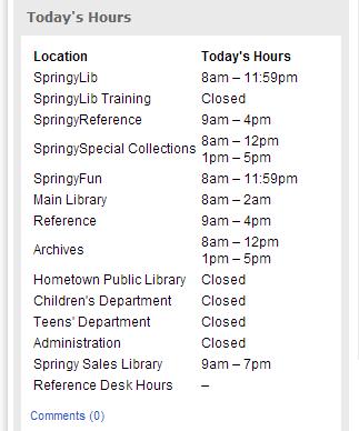 LibCal Hours Module