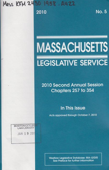 Massachusetts legislative service, West unofficial