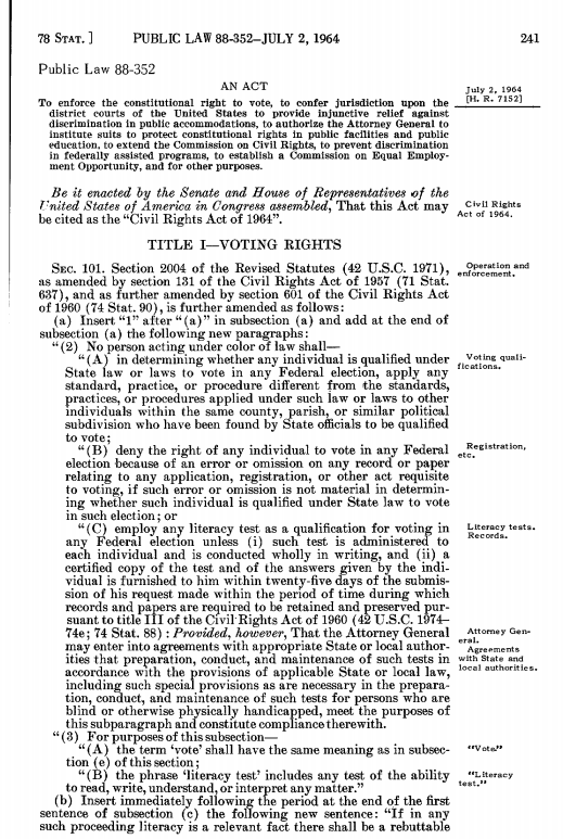 Page from Statutes at Law: Civil Rights Act of 1964
