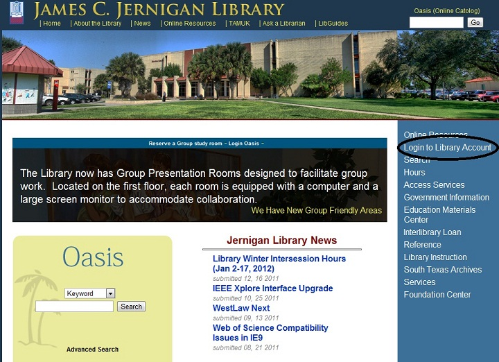 Jernigan Library Account Link