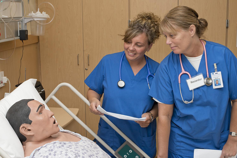 Nursing students in simulation lab