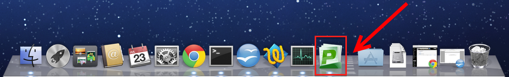 Screenshot of a Mac Dock with the PaperCut icon circled, and the dotted line identified by an arrow