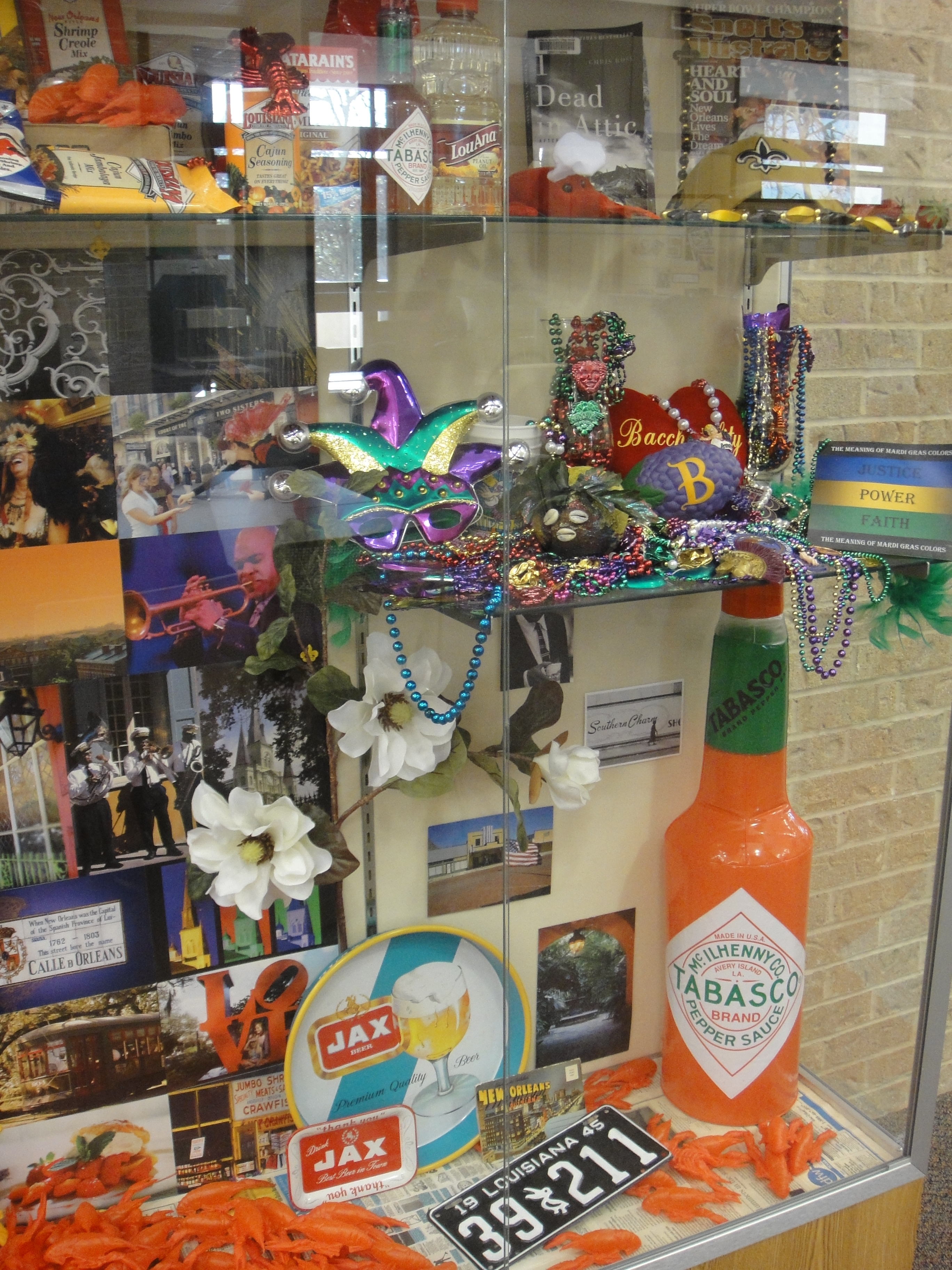photo of library exhibit displaying New Orleans related items