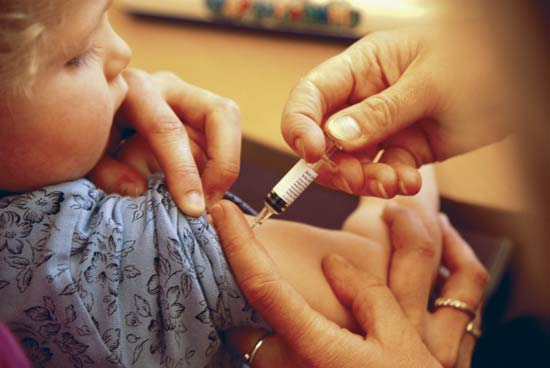 picture of child getting a shot