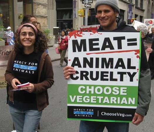 vegatarians protest animal cruelty