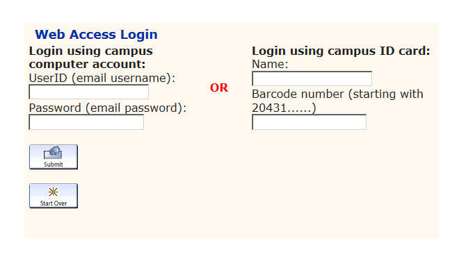 Web Access Login Screen