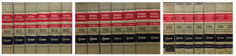 Federal Supplement volumes, Federal Reporter volumes, and Supreme Court Reporter volumes. .