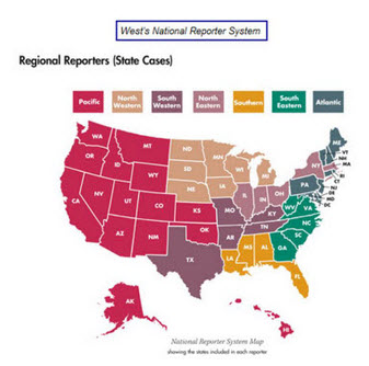 Map of the United States; indicating state coverage of West Regional Reporters.