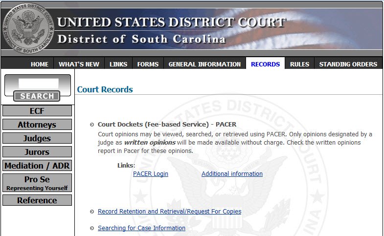 Court Records page of the website for the U.S. District Court, District of SC.