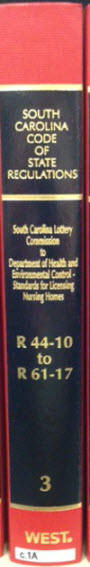 SC Code of Regulations, volume containing R 44-10 to R 61-17, including regulations of the South Carolina Lottery Commission.