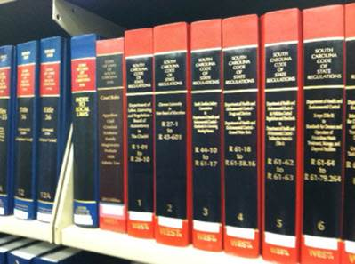 South Carolina Code of Regulations volumes.