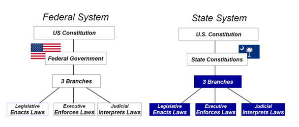 Flowcharts of the federal and state legal systems as described above.