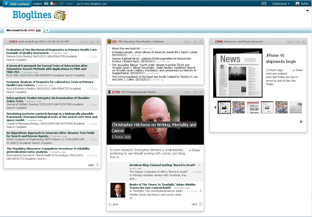 Screenshot of bloglines website