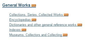 screenshot of RSS links