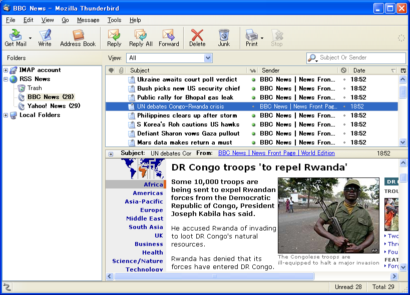 screenshot of Mozilla Thunderbird