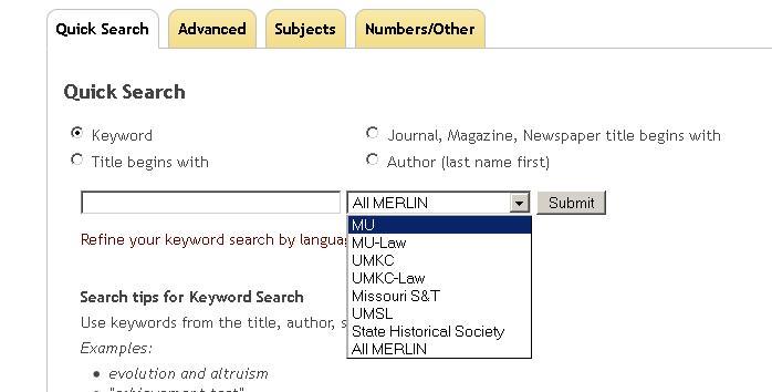 screenshot showing MERLIN location menu