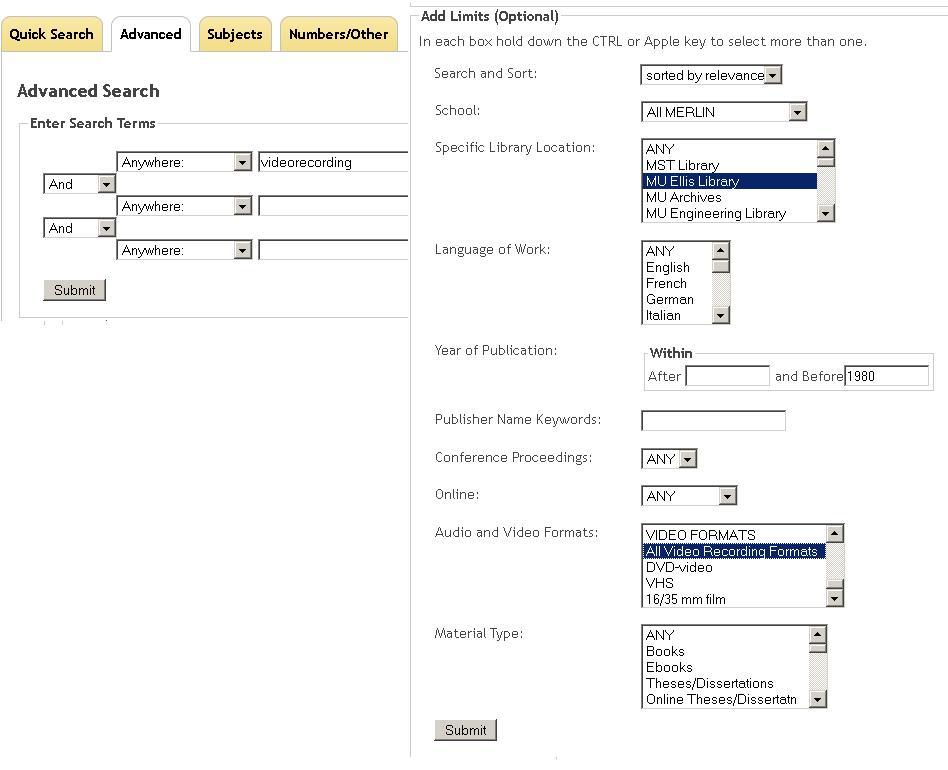 screenshot of MERLIN advanced search screen