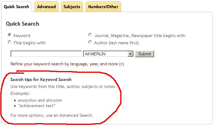 screenshot of quick search form in MERLIN