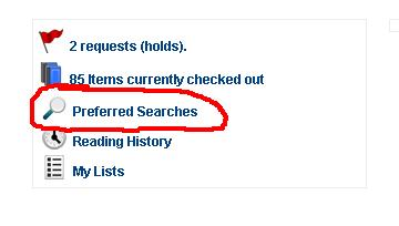 """screenshot showing the """"preferred searches"""" button in MERLIN"""