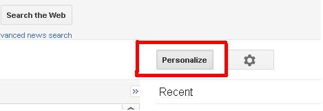 Screenshot of Google News personalize button