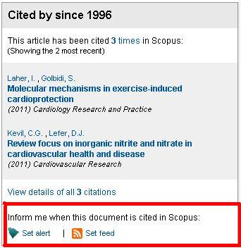 screenshot shows location of set feed and set alert links in Scopus