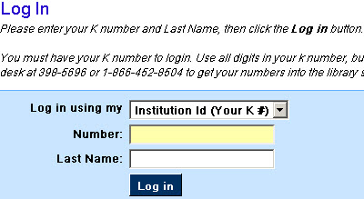 log in with k number