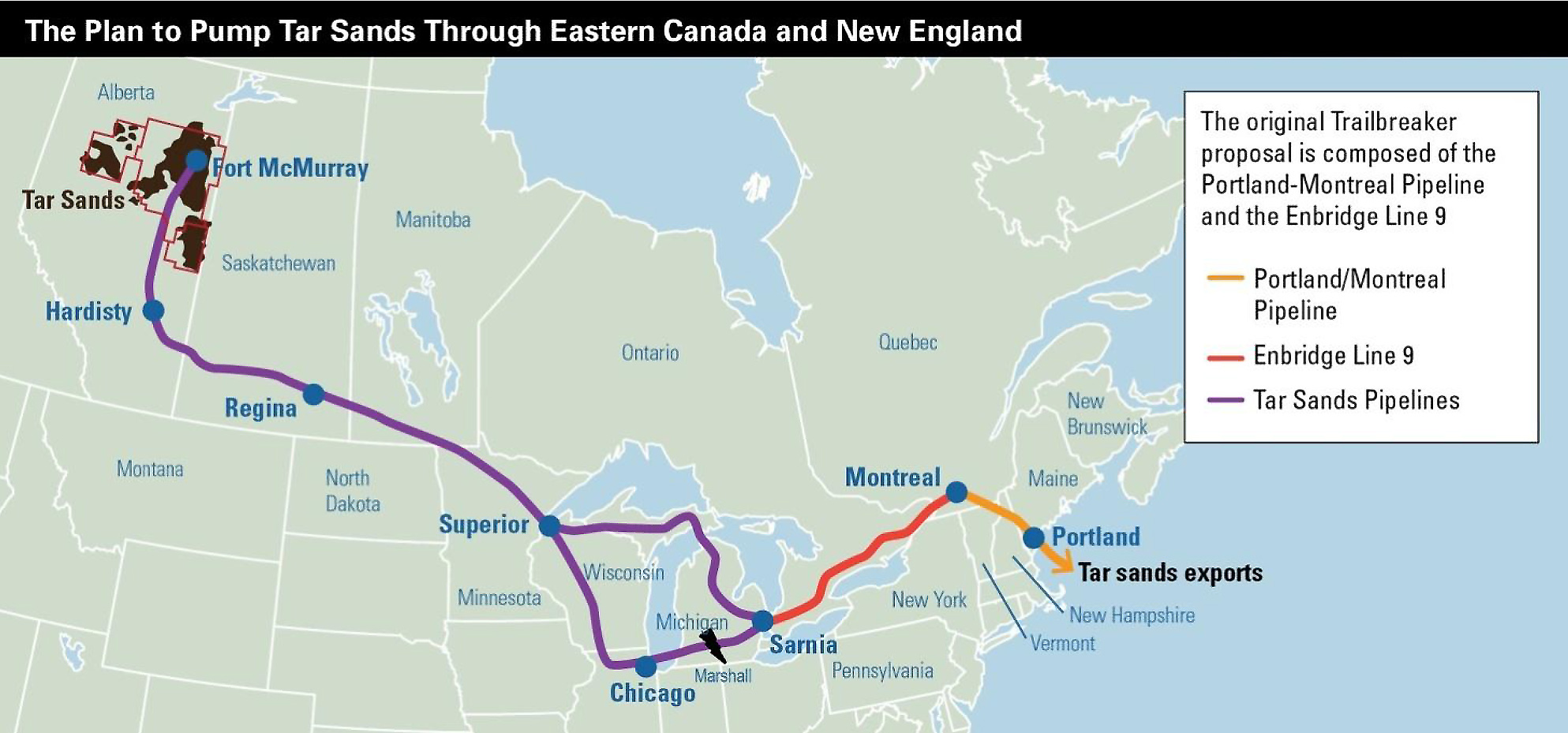 Map showing route of pipeline carrying oil from the tar sands in Canada to Portland, Maine