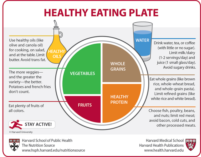 Healthy Eating Plate image, describes why the guidelines are given for each item