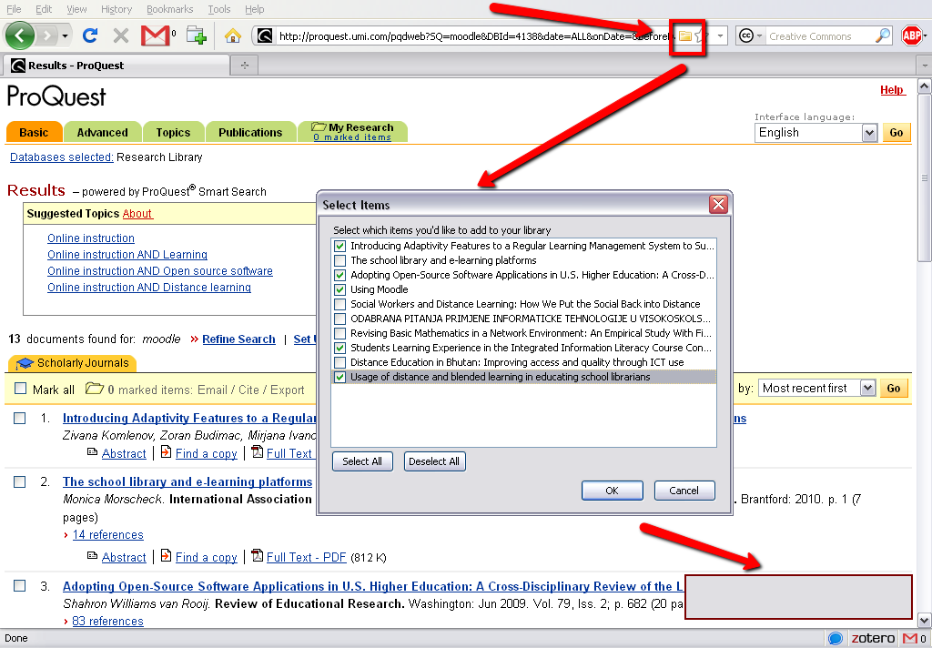 saving multiple sources from a database into your Zotero library
