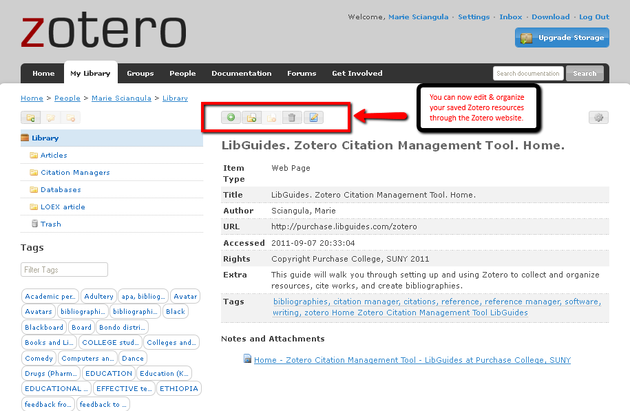 editing an item within your Zotero library at the Zotero site