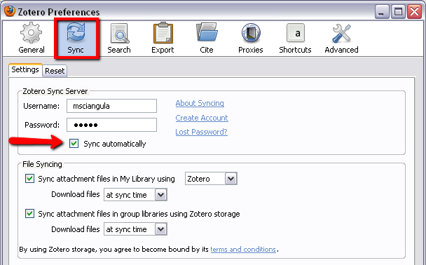 login to your Zotero account in Preferences to sync resource automatically