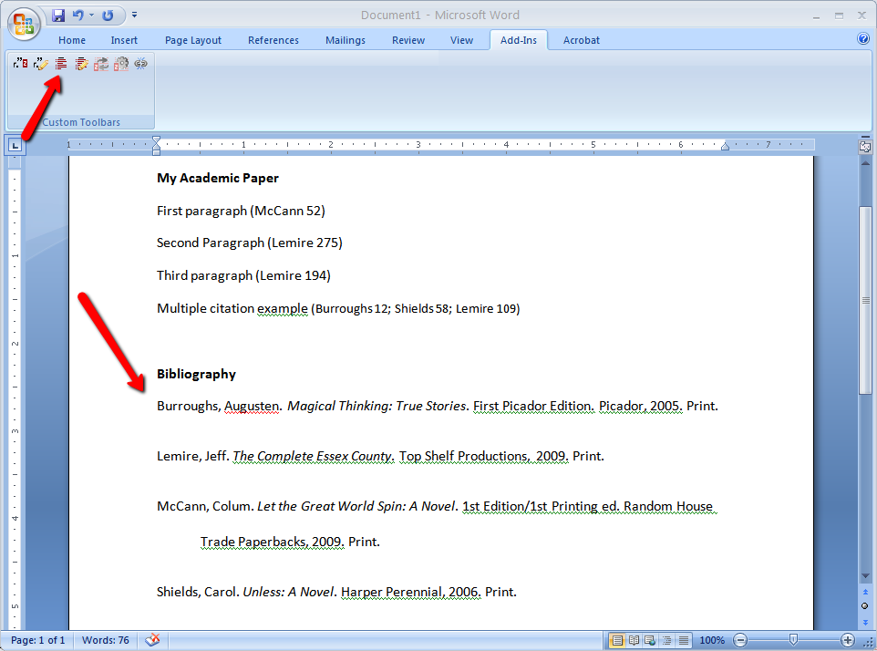 generating a bibliography in Word